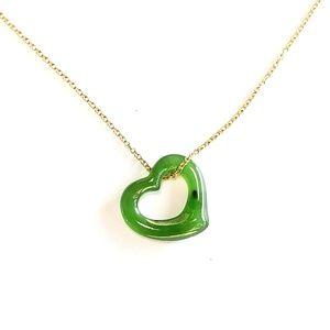 Tiffany Co Jade Necklace Elsa Peretti Open Heart